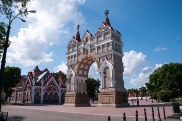 Russia, Blagoveshchensk, July 2019: triumphal arch in honor of Tsarevich Romanov on the embankment of the city of Blagoveshchensk