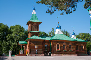 Russia, Blagoveshchensk, July 2019: Yard of the Cathedral of the Annunciation of the blessed virgin Mary of Blagoveshchensk in summer