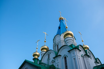 Russia, Blagoveshchensk, July 2019: Domes Of the Cathedral of the Annunciation of the blessed virgin Mary of Blagoveshchensk in summer