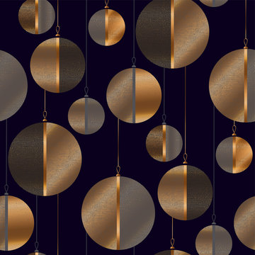 Black and gold Christmas baubles seamless pattern