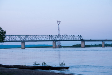 Russia, Blagoveshchensk, July 2019: Bridge over the Amur river in Blagoveshchensk