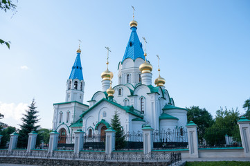 Russia, Blagoveshchensk, July 2019: Cathedral of the Annunciation in Blagoveshchensk in summer