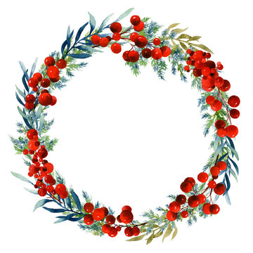 Bright floral wreath with red berries, juniper, blue and golden leafed branches hand drawn in watercolor isolated on a white background. Ideal for invitations, frames, post cards and greeting cards.
