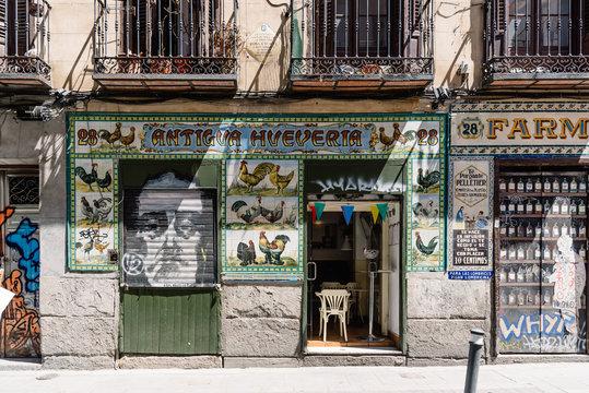 Vintage storefront in Malasana district in Madrid