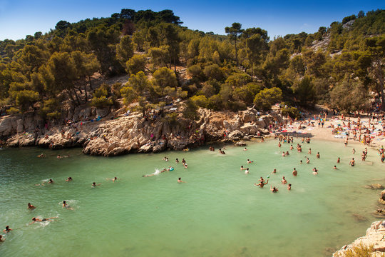 Beach lovers in Calanque de Port-Pin, Calanques National Park, Cassis, Bouches-du-Rhône, Provence-Alpes-Côte d'Azur, France, Europe