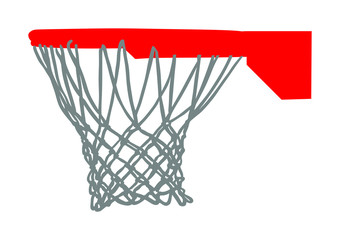 Basketball hoop and net vector illustration isolated on white background. Equipment for basket ball court. Play sport game.
