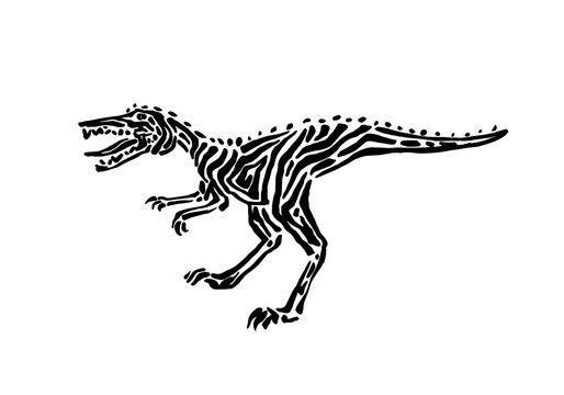 Ancient extinct jurassic velociraptor dinosaur vector illustration ink painted, hand drawn grunge prehistoric reptile, black isolated raptor silhouette on white background