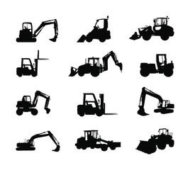 Big set of bulldozer loader vector silhouette isolated on white. Dusty digger, excavator dozer. Under construction. Building machine bager. Motor grader, Forklift cargo car, road roller, asphalt paver