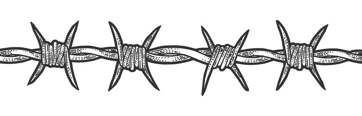 Barbed wire sketch engraving vector illustration. T-shirt apparel print design. Scratch board style imitation. Black and white hand drawn image.