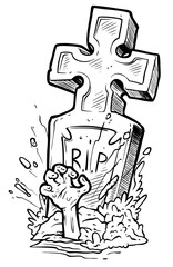 Cartoon graphic black and white tomb gravestone with cross, rising zombie hand and R.I.P text. Isolated on white background. Halloween vector icon.