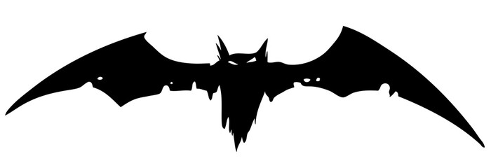 Graphic black silhouette scary flying vampire bat. Isolated on white background. Halloween vector icon.