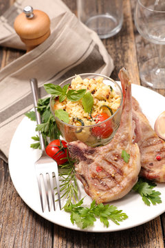 grilled lamb chop, crumble vegetable and spices