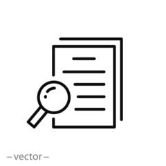 case study icon, research analysis, marketing, thin line web symbol on white background - editable stroke vector illustration eps 10