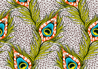 Peacock's tail seamless pattern, african fashion ornament in vibrant colours., picture art and abstract background, vector illustration file EPS10.