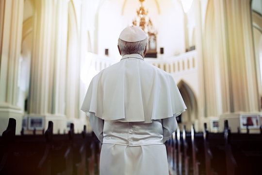 Pope in the church. Back view