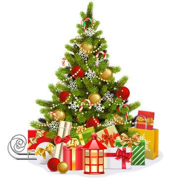 Vector Christmas Fir Tree with Lollipops