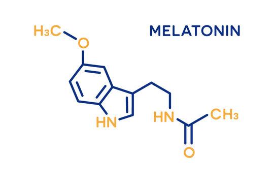 Melatonin hormone molecular formula. Human body hormones symbol