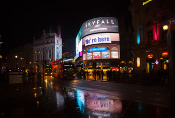 LONDON, UK - OCTOBER 30, 2012: illuminated large LED video advertising display at Piccadilly Circus road junction, London's West End, City of Westminster.