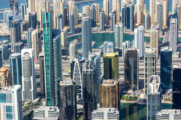Wall Mural - Aerial view of Dubai Marina skyline, close up on buildings from above, United Arab Emirates