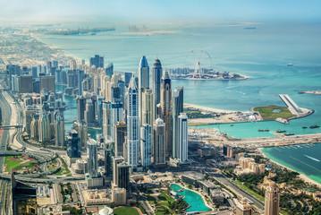 Recess Fitting Dubai Aerial view of Dubai Marina skyline with Dubai Eye ferris wheel, United Arab Emirates