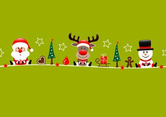 Fototapete - Karte Weihnachtsmann Rentier Und Schneemann Mit Icons Hellgrün