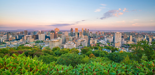 Fototapete - Montreal from top view at sunset in Canada