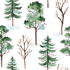 Watercolor winter landscape with tree, pine tree and conifer. Seamless background. Perfect for cover and packaging design, wallpapers, print, textile and much more