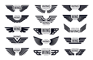 Wings badges. Flying emblem, eagle bird wing and winged frame. Aviation pilot patch badge, army insignia emblem or biker logotype sticker. Isolated vector icons set Wall mural