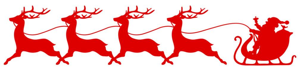 Wall Mural - Roter Gerader Schlitten Weihnachtsmann Vier Rentiere