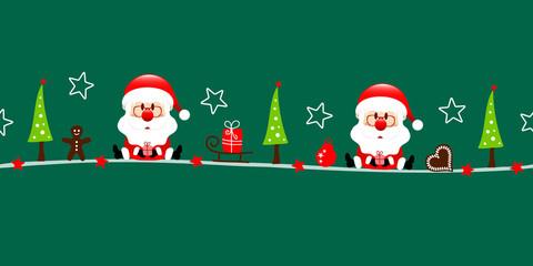 Fototapete - Zwei Weihnachtsmänner Und Icons Grün