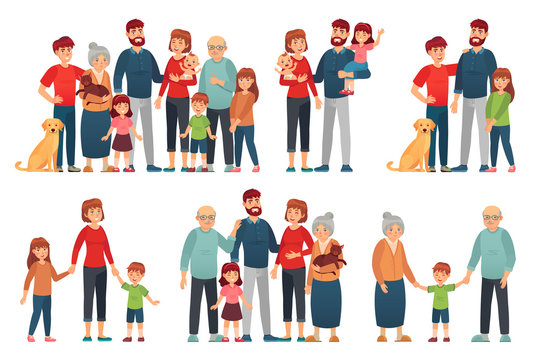 Cartoon family portraits. Happy parents and children portrait, old grandmother and grandfather. Big family, senior and teenager generations families together. Isolated vector illustration icons set