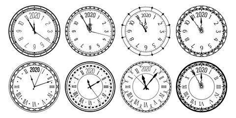Round 2020 clock. New Year countdown watch face, vintage watches and clocks for christmas greeting card. Time measurement watches icons. Isolated vector illustration signs set