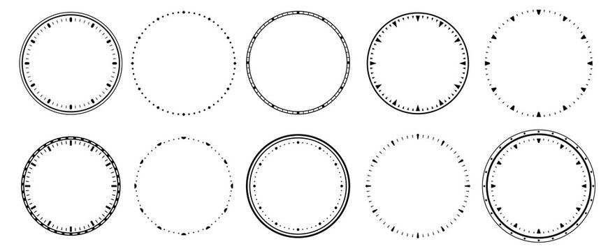 Clock faces. Vintage clocks bezel, seconds timer and 12 hours watch round scale. Clocks frames silhouette, deadline hour stopwatch face. Isolated vector symbols set