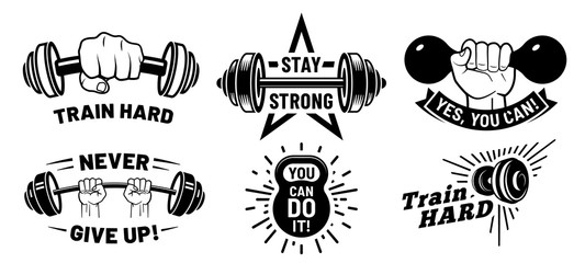 Gym motivation quotes. Fitness inspirational, strong bodybuilding and dumbbell in hand. Athletic exercise quotation, workout body sculpt inspire. Isolated vector illustration icons set