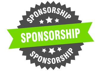 sponsorship sign. sponsorship green-black circular band label