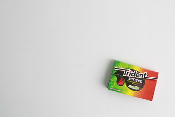 Saragossa Spain. May 18, 2019, package of chewing gum brand tridetn senses flavor watermelon