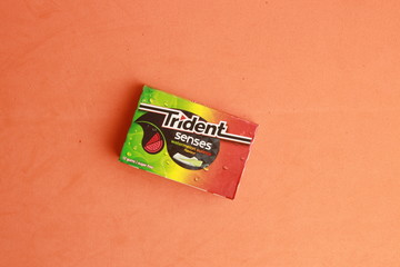 Saragossa Spain. May 18, 2019, package of chewing gum brand tridetn senses flavor watermelon
