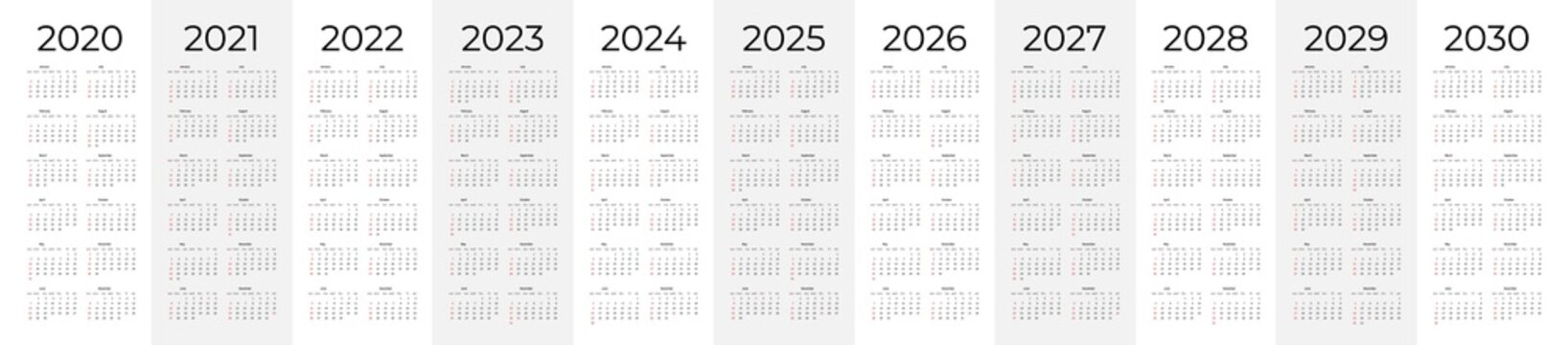 Calendar template set for 2020, 2021, 2022, 2023, 2024, 2025, 2026, 2027, 2028, 2029 and 2030 years. Week starts on Monday. Simple editable vertical vector calender
