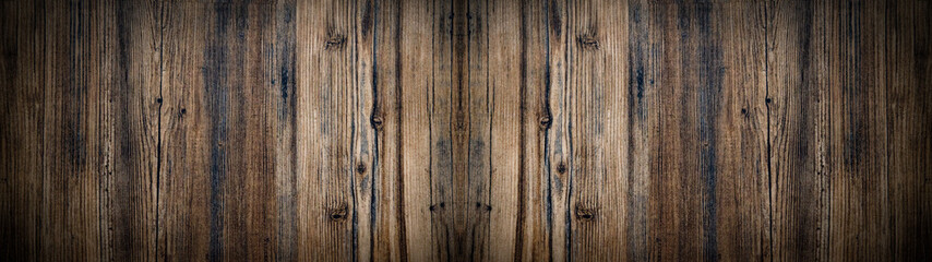 Poster Bois old brown aged rustic wooden texture - wood background panorama banner long