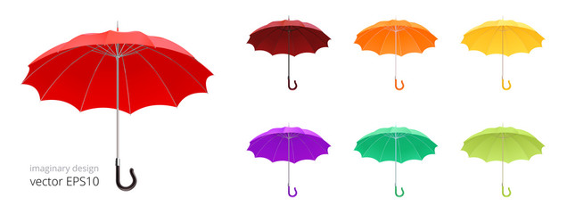 Open umbrella cane. Vector collection of 3d realistic rain umbrellas. 12 ribs and classic crook handle. Set of gamps with a   different colors. Red, brown, orange, yellow, purple and green canopies