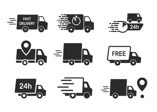 Set of delivery icons. Fast delivery, free delivery, 24 hours, truck.