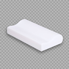 Special Pillow For Comfortable Sleeping Vector Copy Space. Pillow Orthopedic Composition With Memory Foam Pillow. Relaxation Accessory Interior Element For Sleep Layout Realistic 3d Illustration