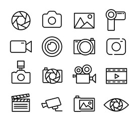 Photo and video set icons thin line. Photography icon. Photo camera icon. Diaphragm icon. Vector illustration.