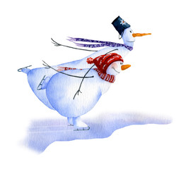 Two skating snowmen hand painted in watercolor isolated on a white background. Christmas watercolor illustration. Watercolor snowmen. Picture from Snowmen collection.