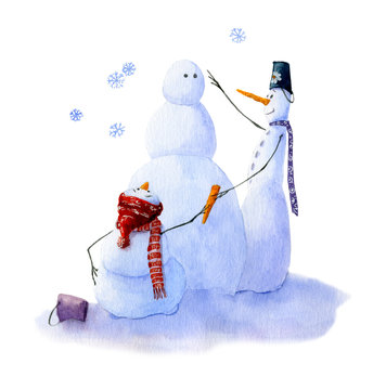 Two snowmen are making another snowman. The picture is hand drawn in watercolor and isolated on a white background.Christmas watercolor illustration.Watercolor snowmen. Picture from Snowmen collection