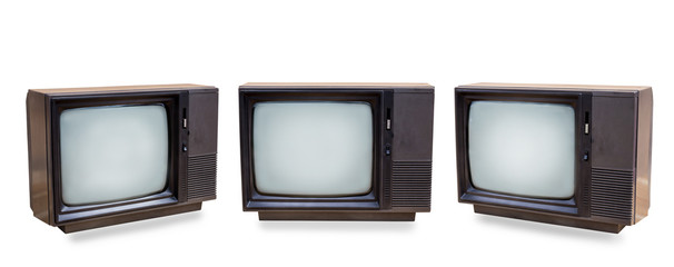 Tuinposter Retro Set of retro old television isolated on white background. vintage three black old TV with clipping path