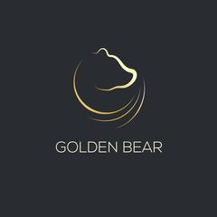 Line Art of bear's head. Logo design Template. Thin Line Graphic Design. Golden color.