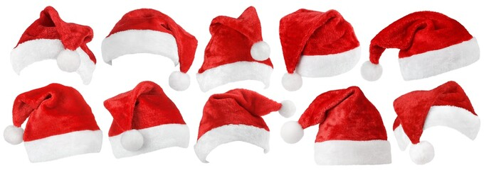 Set of red Christmas Santa Claus hat isolated on white background
