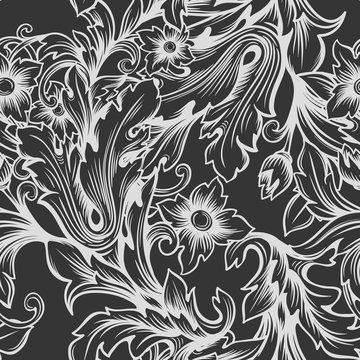 Vintage baroque monochrome seamless pattern.