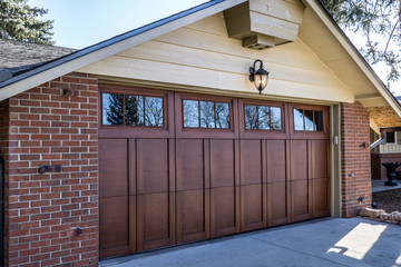 Custom Wood Overlay Garage Door on a house